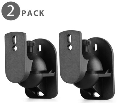 10. TNP Products Universal Satellite Speaker Wall Mount Clamp – 1 Pair Set of 2