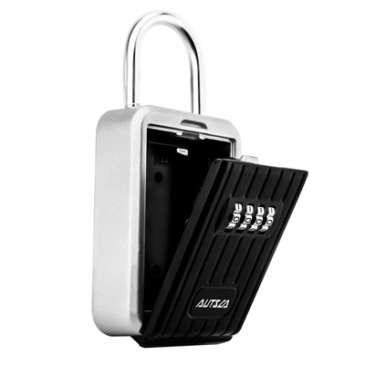 10. AUTSCA Wall Mounted Key Lock Box (Black)