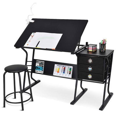 9. Tangkula Drafting Desk Drawing Table