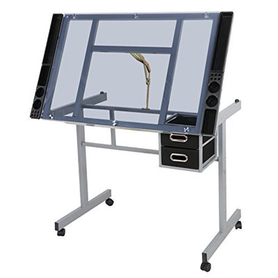 3. ZENY Glass Top Adjustable Drawing Desk Craft Station