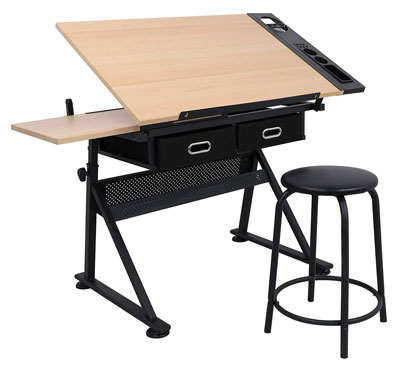 4. ZENY Height Adjustable Drafting Table Desk