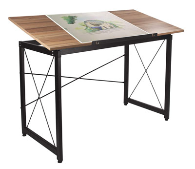 10. H&A Tiltable Drawing Desk Drafting Table Wood Surface