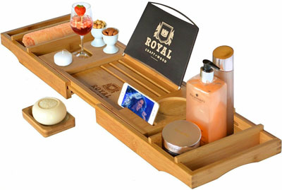1. Royal Craft Wood Luxury Bathtub Caddy Tray