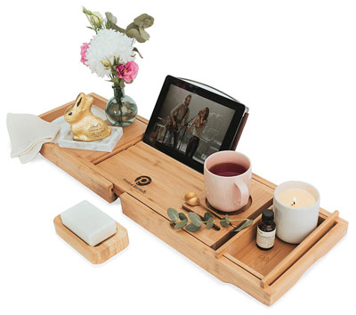 2. Pristine Bamboo Bathtub Caddy Tray