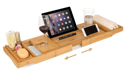 8. HOMFA Bamboo Bathtub Tray Bath Table