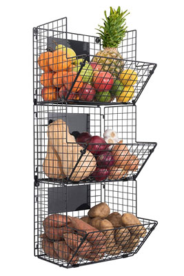 8. Saratoga Home 3-Tier Wall Mounted Hanging Baskets with Chalkboards