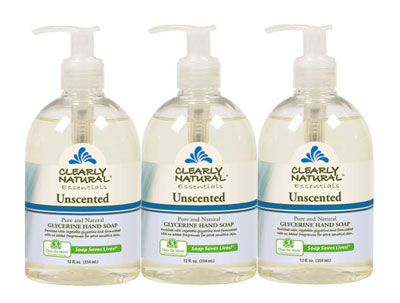 9. Clearly Natural Pack of 3 Unscented Liquid Hand Soap, 12-Ounces Each