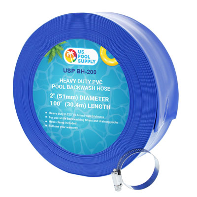 "5. U.S. Pool Supply 2"" x 100' Blue Swimming Pool Backwash Hose"