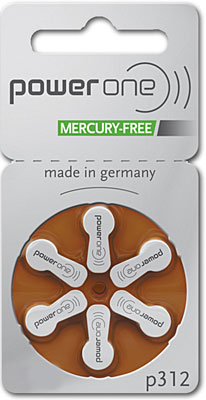6. PowerOne No Mercury Hearing Aid Batteries Size 312 Battery Keychain Kit