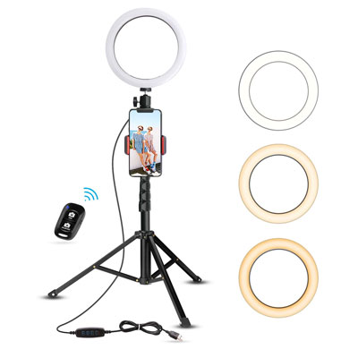 "1. UBeesize 8"" Selfie Ring Light with Tripod Stand"