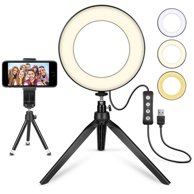 "2. MACTREM 6"" LED Ring Light with Tripod Stand"