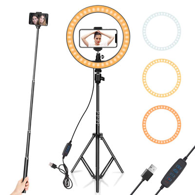 "3. AIXPI 10"" Ring Light with Tripod Stand & Phone Holder"