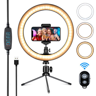 "9. Amconsure 10"" LED Ring Light with Tripod Stand and Phone Holder"