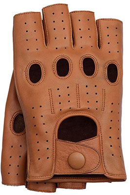 7. Riparo Motorsports Men's Fingerless Unlined Leather Gloves