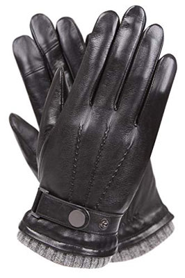 2. WARMEN Mens Winter Cold Leather Driving Gloves
