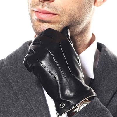 1. ELMA Mens Touchscreen Leather Dress Driving Gloves