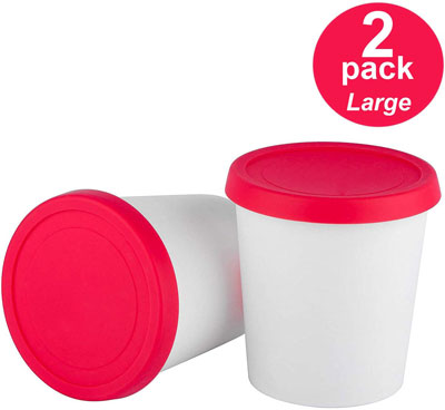 3. StarPack Home Premium Ice Cream Freezer Containers - Set of 2 with Silicone Lids