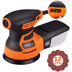 2. TACKLIFE 3.0A 5-Inch Random Orbit Sander with 12Pcs
