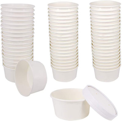 8. Belinlen 50 SET Disposable White Ice Cream Cups with Lids