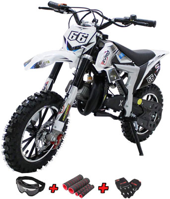 3. X-PRO Bolt 50cc Mini Dirt Bike with Gloves, Goggle and Handgrip