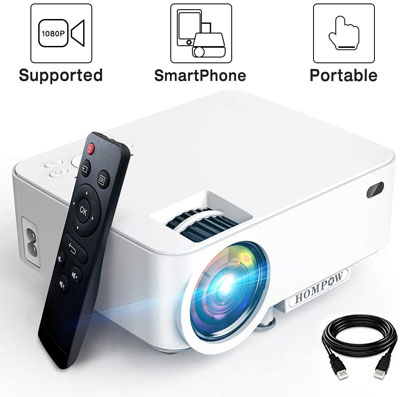5. HOMPOW 3600L Smartphone Portable Video Projector