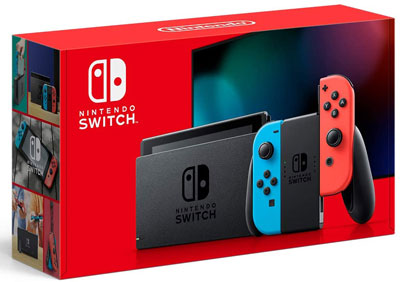 2. Nintendo Switch with Neon Blue and Neon Red Joy Con