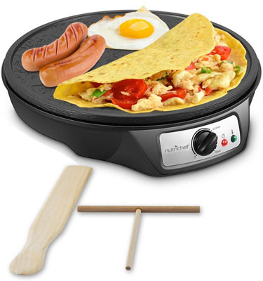 1. NutriChef Nonstick Electric Crepe Maker, 12-Inch